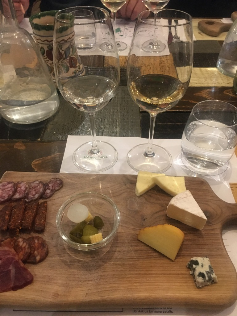 Charcuterie Board with White Wine